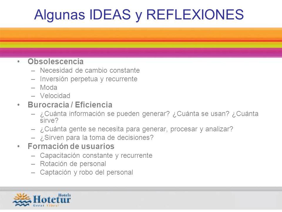 Algunas IDEAS y REFLEXIONES Obsolescencia –Necesidad de cambio constante –Inversión perpetua y recurrente –Moda –Velocidad Burocracia / Eficiencia –¿Cuánta información se pueden generar.