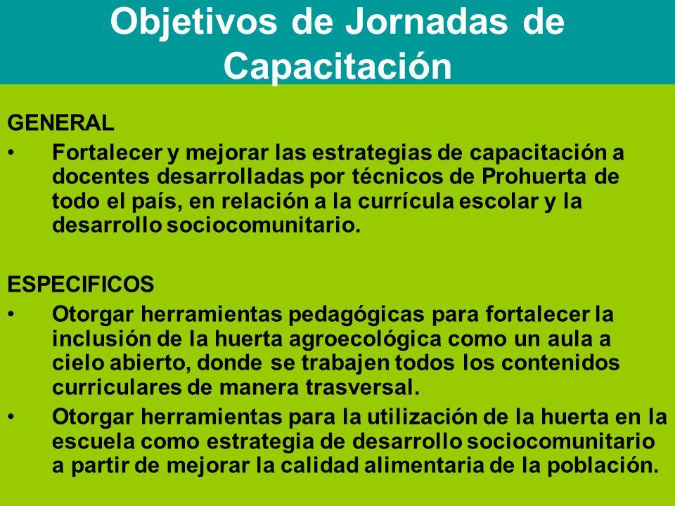 GENERAL Fortalecer y mejorar las estrategias de capacitación a docentes desarrolladas por técnicos de Prohuerta de todo el país, en relación a la currícula escolar y la desarrollo sociocomunitario.