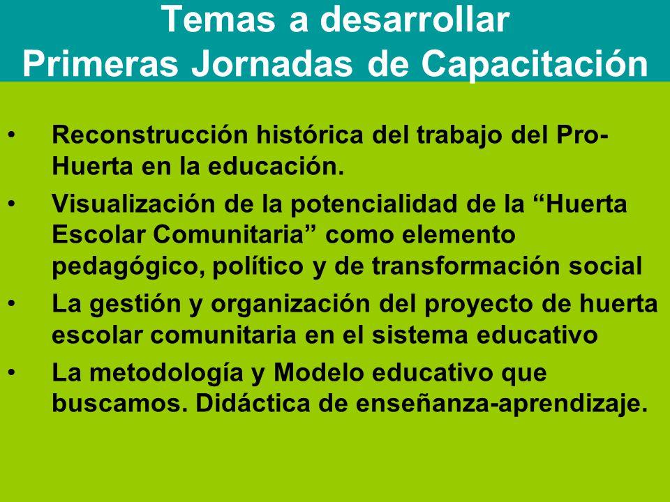 Reconstrucción histórica del trabajo del Pro- Huerta en la educación.