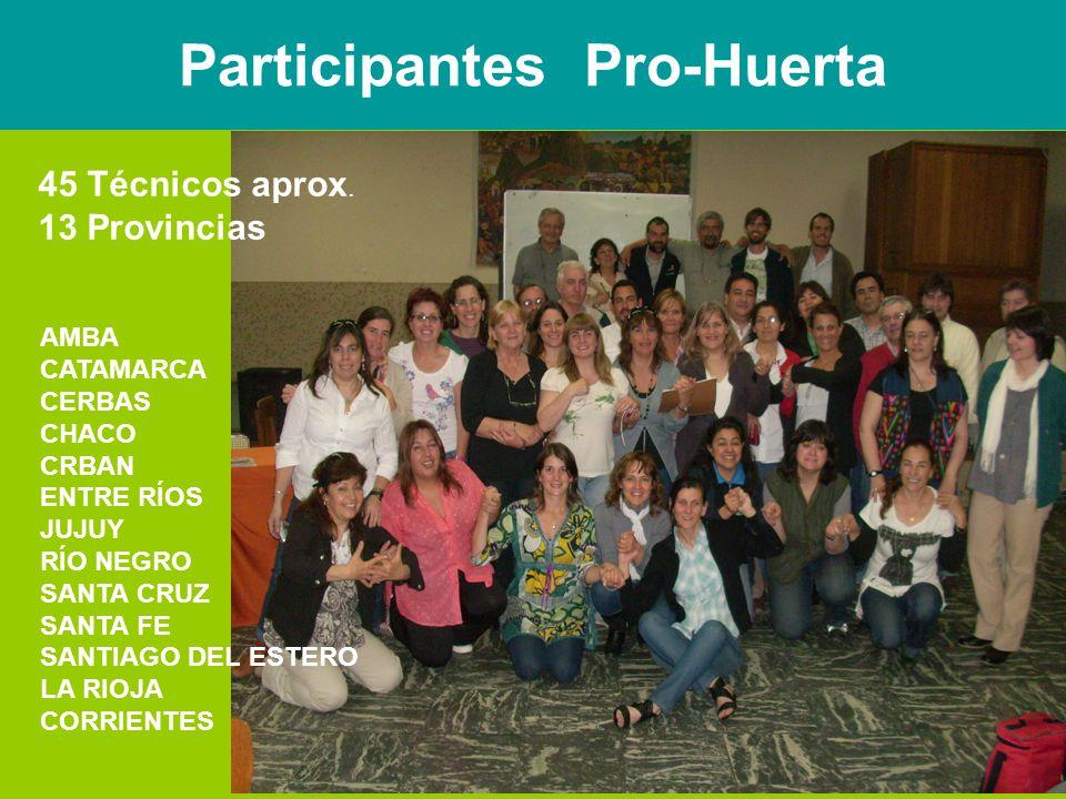 Participantes Pro-Huerta 45 Técnicos aprox.