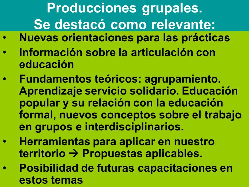Nuevas orientaciones para las prácticas Información sobre la articulación con educación Fundamentos teóricos: agrupamiento.