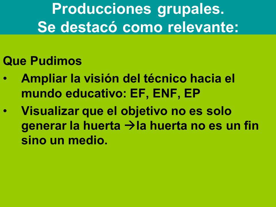 Que Pudimos Ampliar la visión del técnico hacia el mundo educativo: EF, ENF, EP Visualizar que el objetivo no es solo generar la huerta  la huerta no es un fin sino un medio.