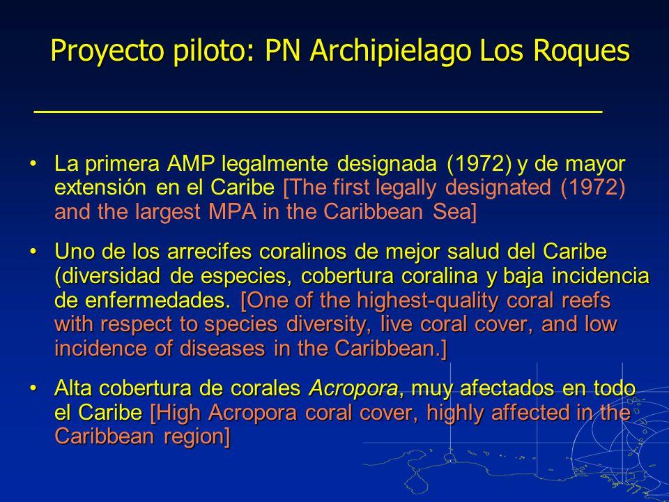 La primera AMP legalmente designada (1972) y de mayor extensión en el Caribe [The first legally designated (1972) and the largest MPA in the Caribbean Sea] Uno de los arrecifes coralinos de mejor salud del Caribe (diversidad de especies, cobertura coralina y baja incidencia de enfermedades.