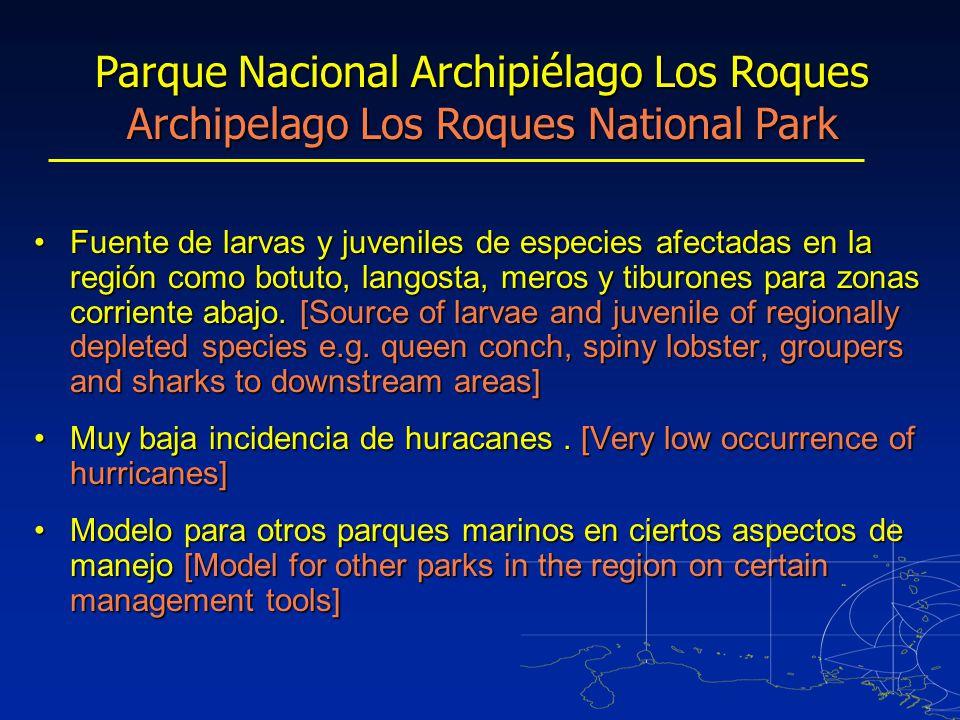 Fuente de larvas y juveniles de especies afectadas en la región como botuto, langosta, meros y tiburones para zonas corriente abajo.
