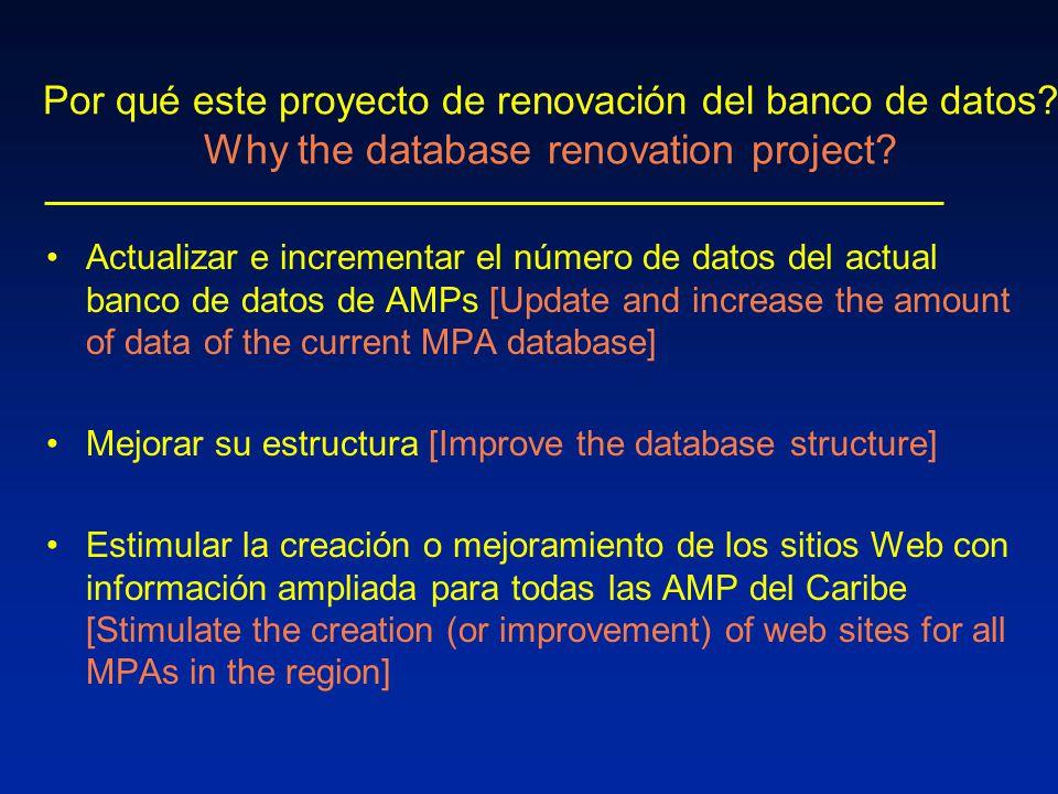 Por qué este proyecto de renovación del banco de datos.