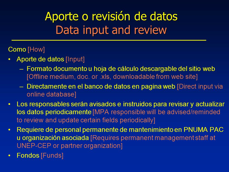 Como [How] Aporte de datos [Input] –Formato documento u hoja de cálculo descargable del sitio web [Offline medium, doc.