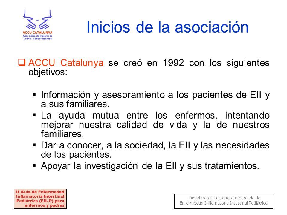 Inicios de la asociación  ACCU Catalunya se creó en 1992 con los siguientes objetivos:  Información y asesoramiento a los pacientes de EII y a sus familiares.
