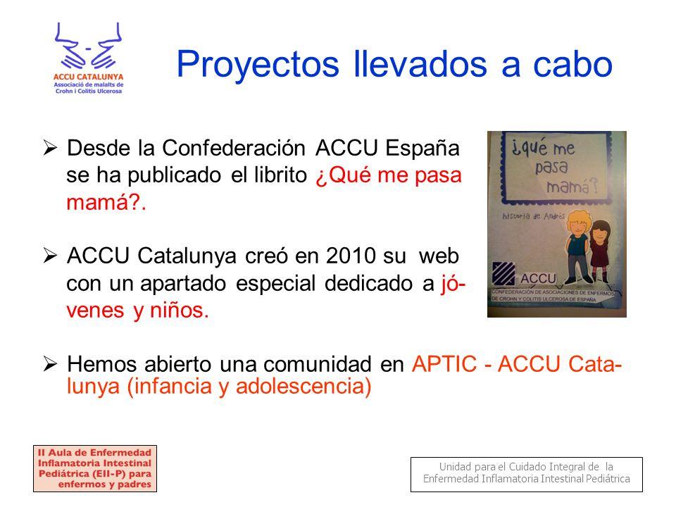 Proyectos llevados a cabo  Desde la Confederación ACCU España se ha publicado el librito ¿Qué me pasa mamá .