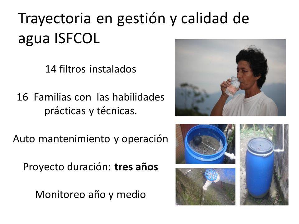 Trayectoria en gestión y calidad de agua ISFCOL 14 filtros instalados 16 Familias con las habilidades prácticas y técnicas.