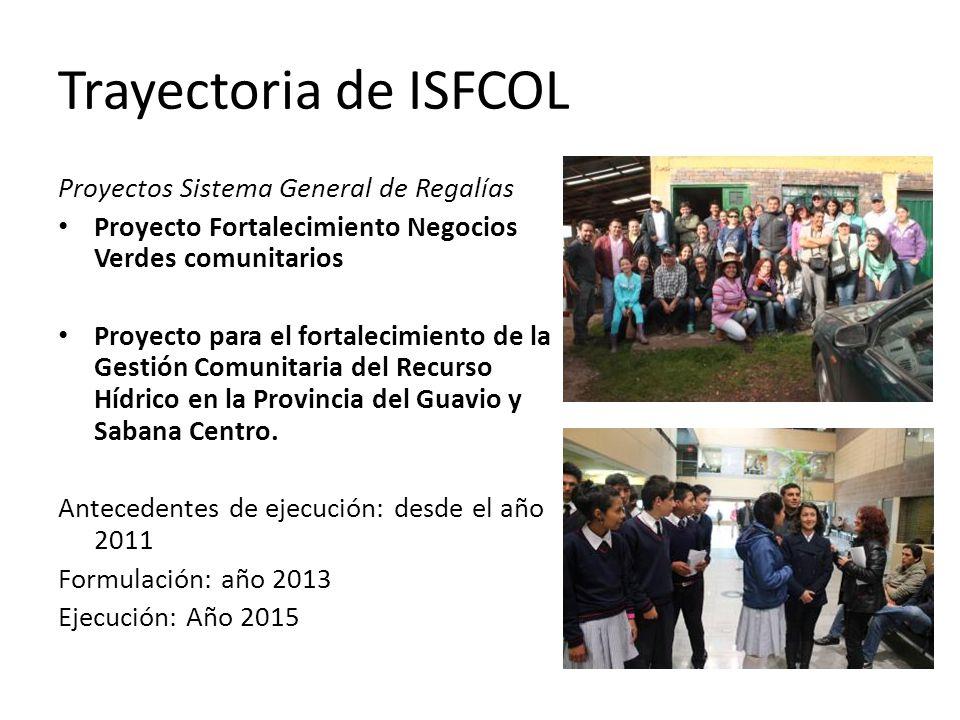 Proyectos Sistema General de Regalías Proyecto Fortalecimiento Negocios Verdes comunitarios Proyecto para el fortalecimiento de la Gestión Comunitaria del Recurso Hídrico en la Provincia del Guavio y Sabana Centro.