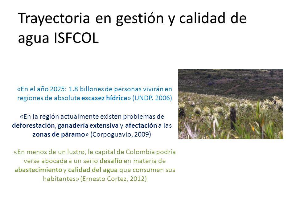 «En el año 2025: 1.8 billones de personas vivirán en regiones de absoluta escasez hídrica» (UNDP, 2006) «En la región actualmente existen problemas de deforestación, ganadería extensiva y afectación a las zonas de páramo» (Corpoguavio, 2009) «En menos de un lustro, la capital de Colombia podría verse abocada a un serio desafío en materia de abastecimiento y calidad del agua que consumen sus habitantes» (Ernesto Cortez, 2012) Trayectoria en gestión y calidad de agua ISFCOL