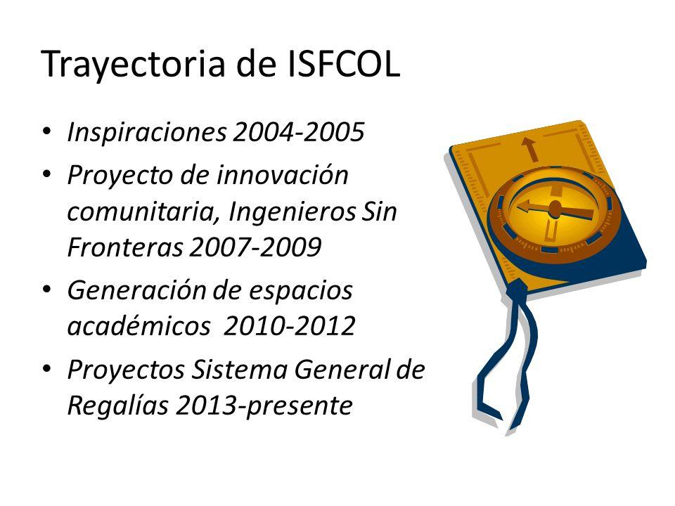 Trayectoria de ISFCOL Inspiraciones 2004-2005 Proyecto de innovación comunitaria, Ingenieros Sin Fronteras 2007-2009 Generación de espacios académicos 2010-2012 Proyectos Sistema General de Regalías 2013-presente