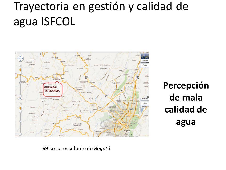 Trayectoria en gestión y calidad de agua ISFCOL Percepción de mala calidad de agua 69 km al occidente de Bogotá