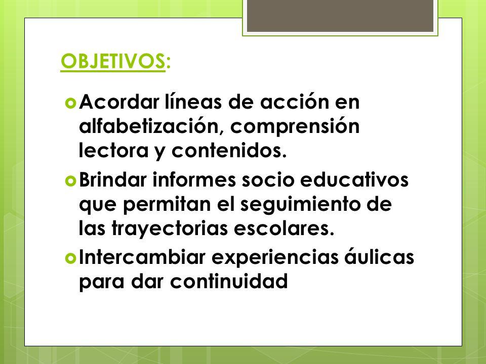 OBJETIVOS:  Acordar líneas de acción en alfabetización, comprensión lectora y contenidos.