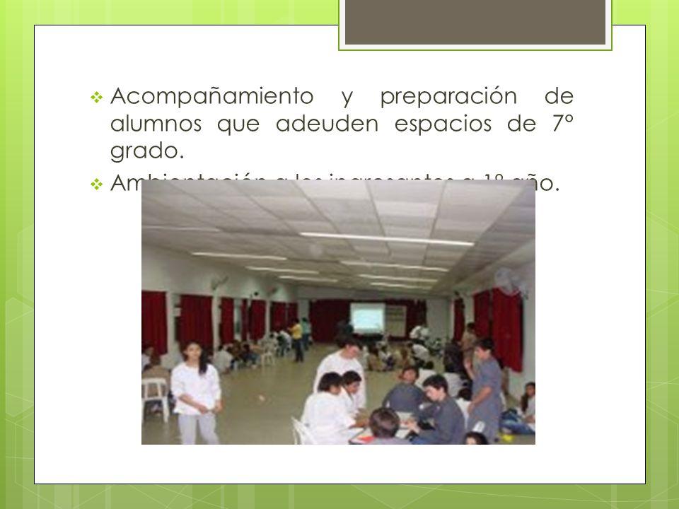  Acompañamiento y preparación de alumnos que adeuden espacios de 7° grado.
