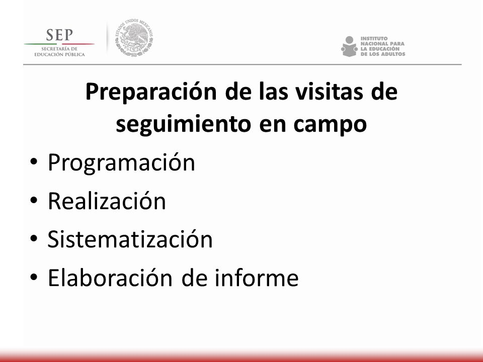 Preparación de las visitas de seguimiento en campo Programación Realización Sistematización Elaboración de informe