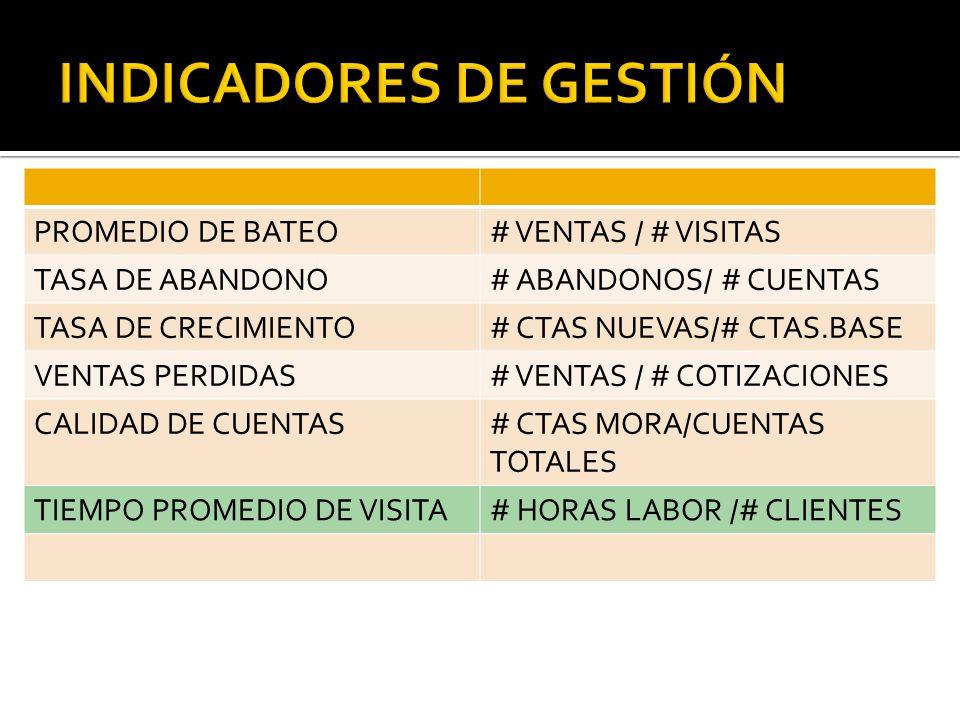 PROMEDIO DE BATEO# VENTAS / # VISITAS TASA DE ABANDONO# ABANDONOS/ # CUENTAS TASA DE CRECIMIENTO# CTAS NUEVAS/# CTAS.BASE VENTAS PERDIDAS# VENTAS / # COTIZACIONES CALIDAD DE CUENTAS# CTAS MORA/CUENTAS TOTALES TIEMPO PROMEDIO DE VISITA# HORAS LABOR /# CLIENTES