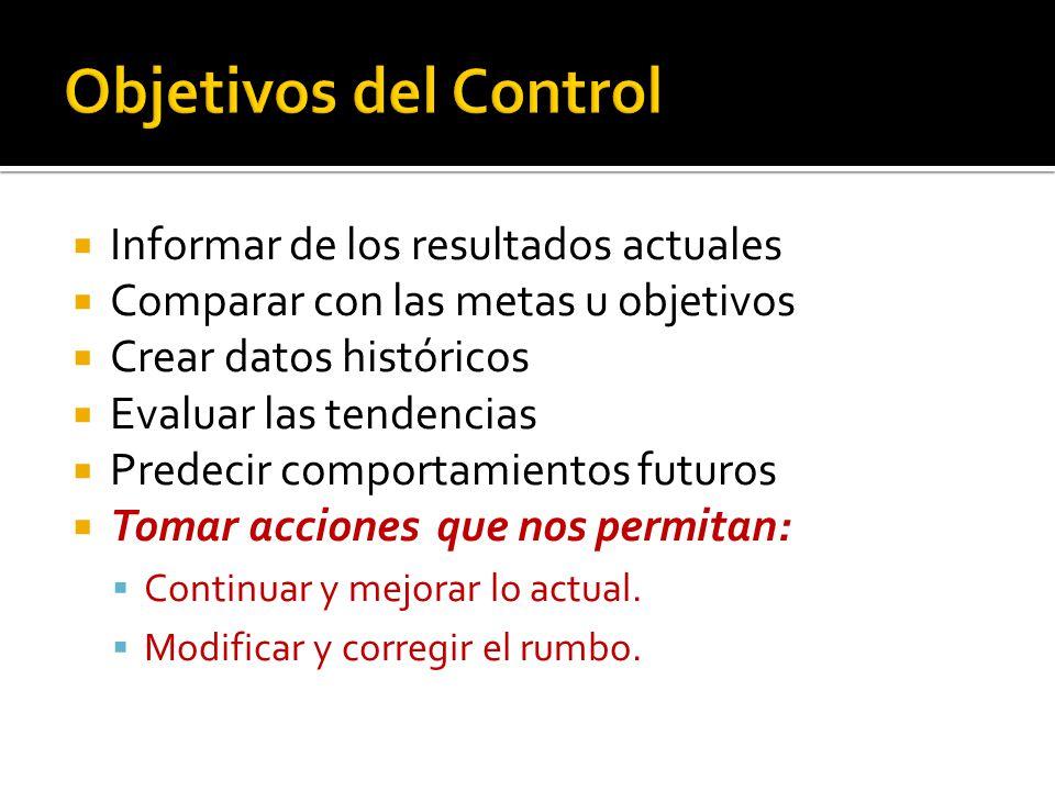  Informar de los resultados actuales  Comparar con las metas u objetivos  Crear datos históricos  Evaluar las tendencias  Predecir comportamientos futuros  Tomar acciones que nos permitan:  Continuar y mejorar lo actual.