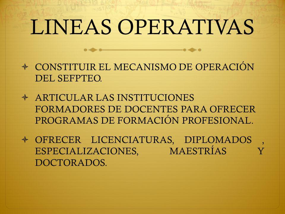 LINEAS OPERATIVAS  CONSTITUIR EL MECANISMO DE OPERACIÓN DEL SEFPTEO.