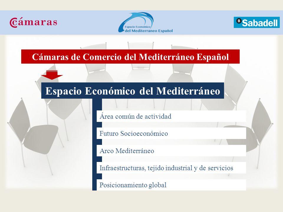 Espacio Económico del Mediterráneo Área común de actividad Futuro Socioeconómico Arco Mediterráneo Posicionamiento global Cámaras de Comercio del Mediterráneo Español Infraestructuras, tejido industrial y de servicios