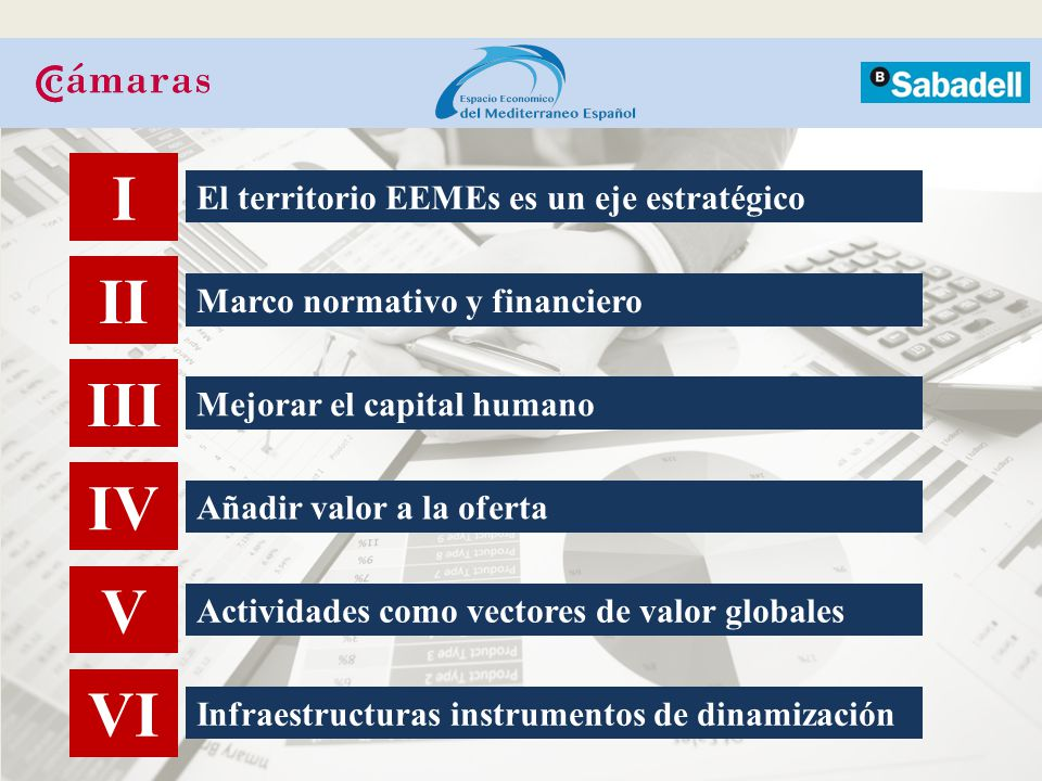 I II III IV V VI El territorio EEMEs es un eje estratégico Marco normativo y financiero Mejorar el capital humano Añadir valor a la oferta Actividades como vectores de valor globales Infraestructuras instrumentos de dinamización
