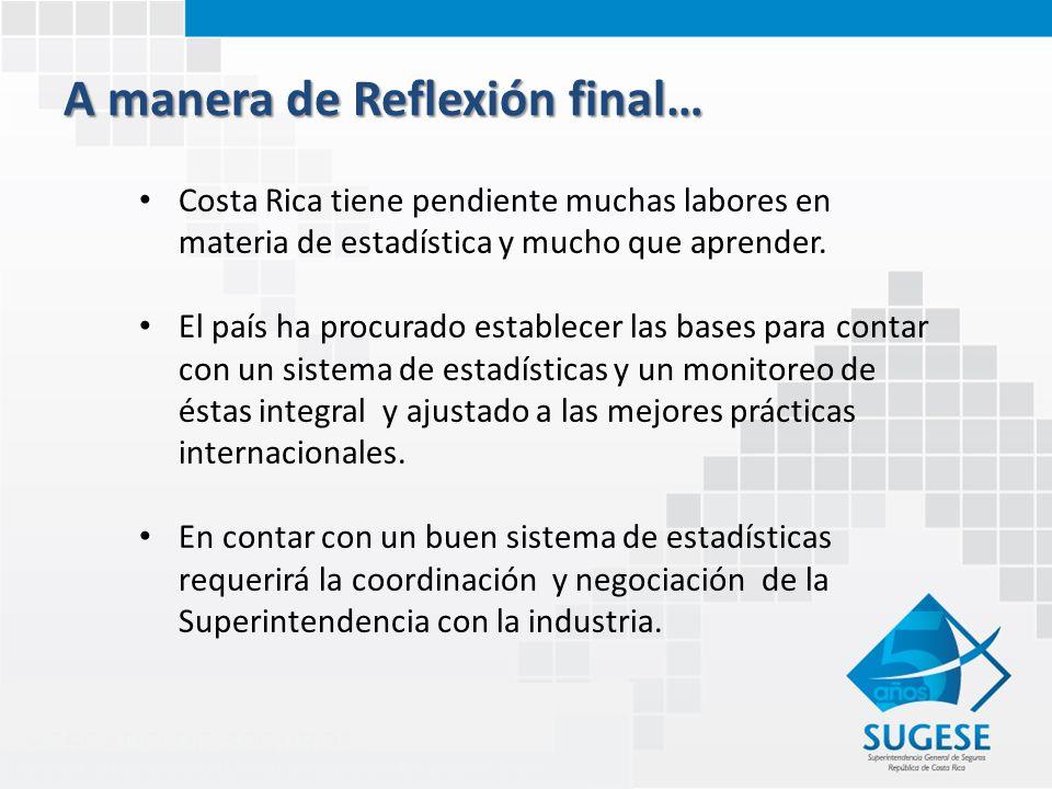A manera de Reflexión final… Costa Rica tiene pendiente muchas labores en materia de estadística y mucho que aprender.