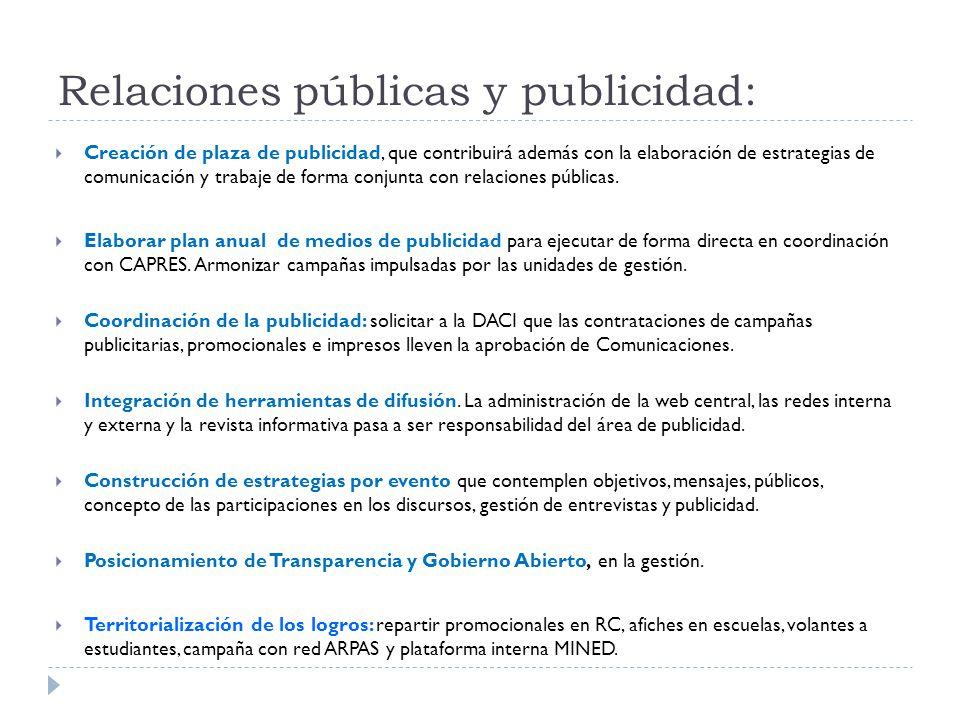 Relaciones públicas y publicidad:  Creación de plaza de publicidad, que contribuirá además con la elaboración de estrategias de comunicación y trabaje de forma conjunta con relaciones públicas.