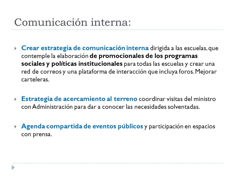 Comunicación interna:  Crear estrategia de comunicación interna dirigida a las escuelas, que contemple la elaboración de promocionales de los programas sociales y políticas institucionales para todas las escuelas y crear una red de correos y una plataforma de interacción que incluya foros.