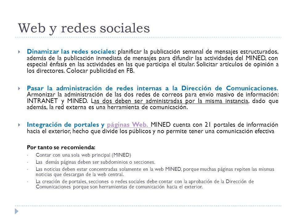 Web y redes sociales  Dinamizar las redes sociales: planificar la publicación semanal de mensajes estructurados, además de la publicación inmediata de mensajes para difundir las actividades del MINED, con especial énfasis en las actividades en las que participa el titular.