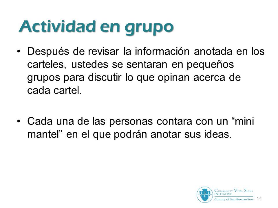 14 Actividad en grupo Después de revisar la información anotada en los carteles, ustedes se sentaran en pequeños grupos para discutir lo que opinan acerca de cada cartel.