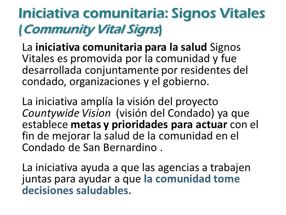 La iniciativa comunitaria para la salud Signos Vitales es promovida por la comunidad y fue desarrollada conjuntamente por residentes del condado, organizaciones y el gobierno.