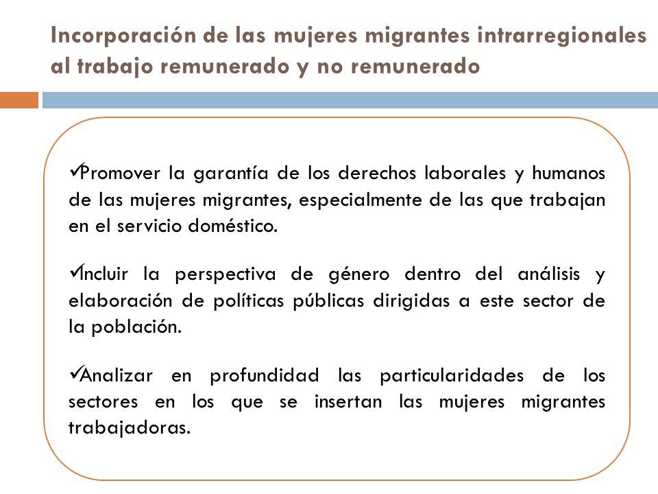 Incorporación de las mujeres migrantes intrarregionales al trabajo remunerado y no remunerado Promover la garantía de los derechos laborales y humanos de las mujeres migrantes, especialmente de las que trabajan en el servicio doméstico.