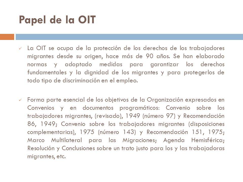 Papel de la OIT La OIT se ocupa de la protección de los derechos de los trabajadores migrantes desde su origen, hace más de 90 años.