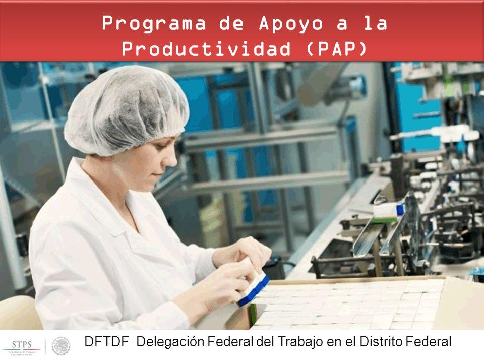 DFTDF | Delegación Federal del Trabajo en el Distrito Federal UDFT | Unidad de Delegaciones Federales del Trabajo Programa de Apoyo a la Productividad (PAP) DFTDF Delegación Federal del Trabajo en el Distrito Federal