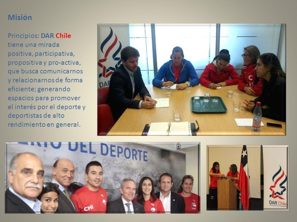 Misión Principios: DAR Chile tiene una mirada positiva, participativa, propositiva y pro-activa, que busca comunicarnos y relacionarnos de forma eficiente; generando espacios para promover el interés por el deporte y deportistas de alto rendimiento en general.