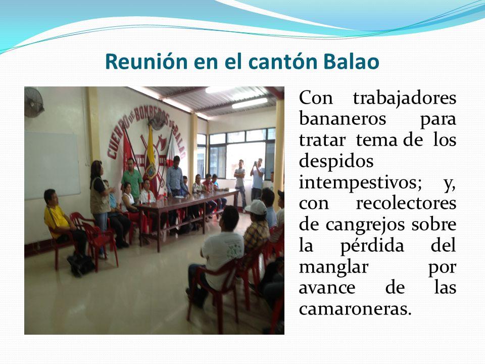 Reunión en el cantón Balao Con trabajadores bananeros para tratar tema de los despidos intempestivos; y, con recolectores de cangrejos sobre la pérdida del manglar por avance de las camaroneras.