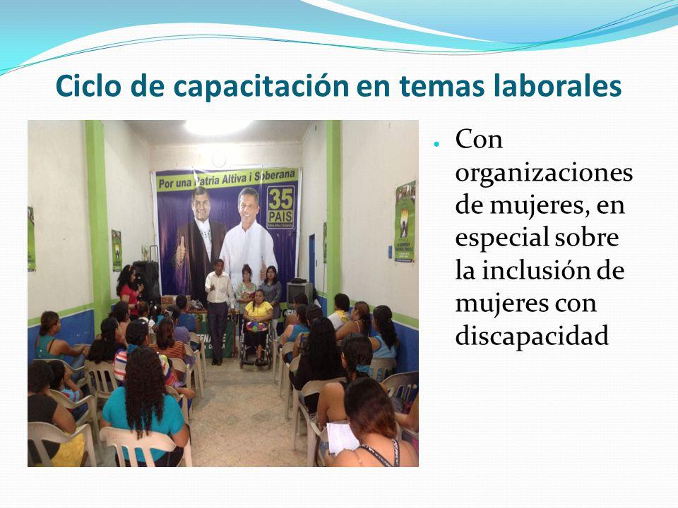 Ciclo de capacitación en temas laborales ● Con organizaciones de mujeres, en especial sobre la inclusión de mujeres con discapacidad