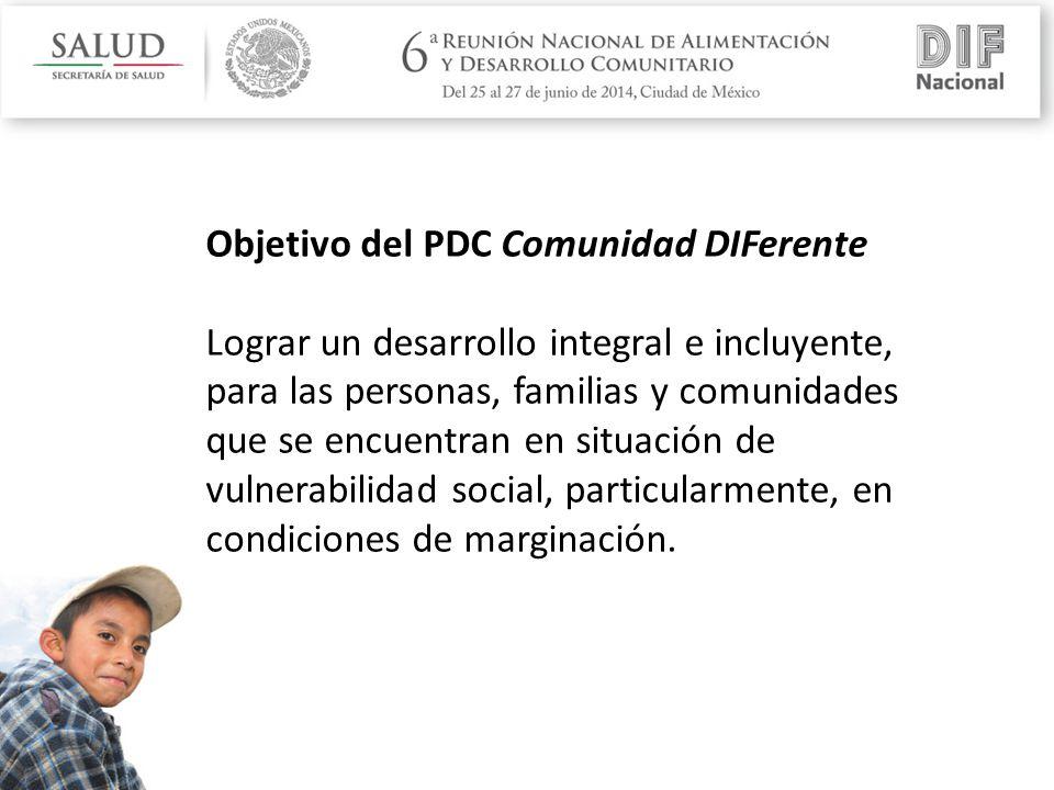 Objetivo del PDC Comunidad DIFerente Lograr un desarrollo integral e incluyente, para las personas, familias y comunidades que se encuentran en situación de vulnerabilidad social, particularmente, en condiciones de marginación.