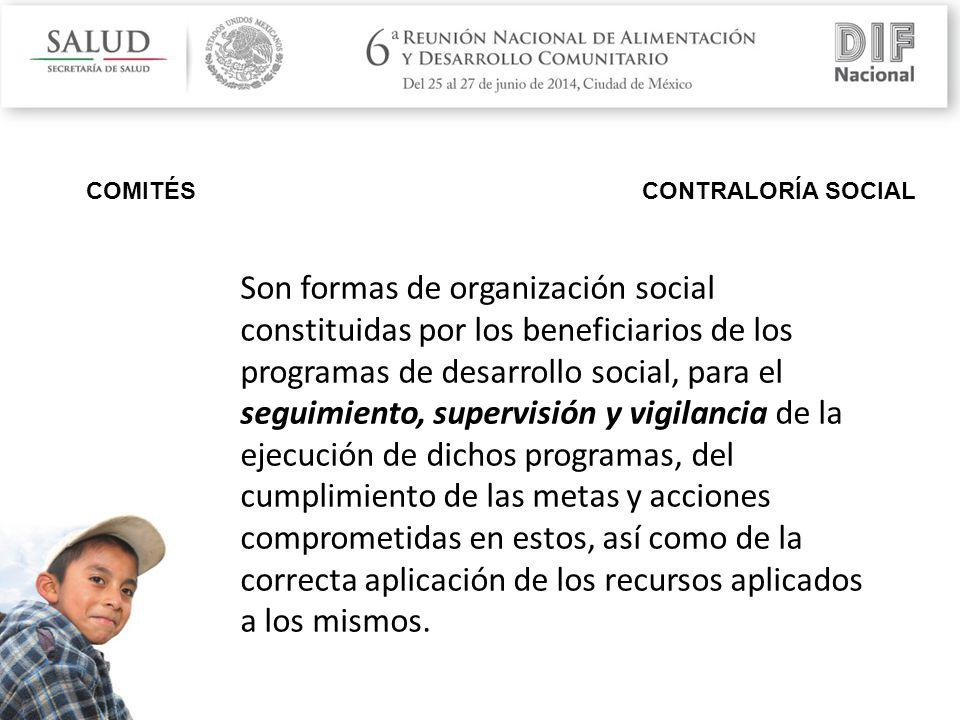 COMITÉS CONTRALORÍA SOCIAL Son formas de organización social constituidas por los beneficiarios de los programas de desarrollo social, para el seguimiento, supervisión y vigilancia de la ejecución de dichos programas, del cumplimiento de las metas y acciones comprometidas en estos, así como de la correcta aplicación de los recursos aplicados a los mismos.
