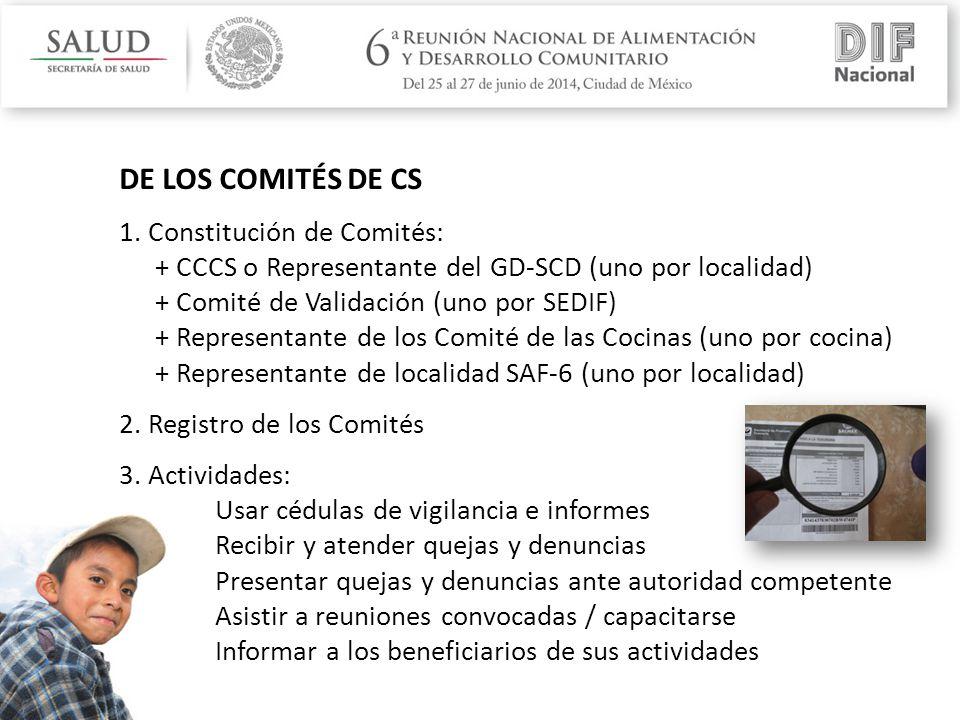 DE LOS COMITÉS DE CS 1.