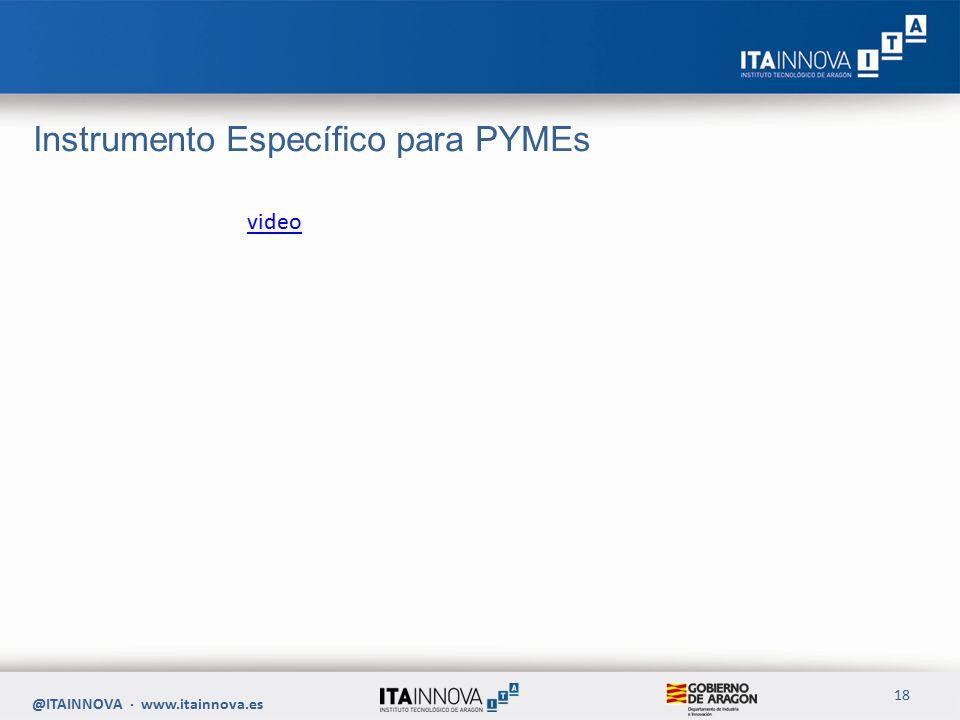 Instrumento Específico para PYMEs @ITAINNOVA · www.itainnova.es 18 video