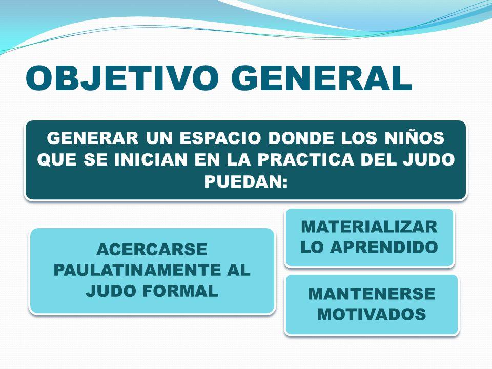 OBJETIVO GENERAL GENERAR UN ESPACIO DONDE LOS NIÑOS QUE SE INICIAN EN LA PRACTICA DEL JUDO PUEDAN: MATERIALIZAR LO APRENDIDO ACERCARSE PAULATINAMENTE AL JUDO FORMAL MANTENERSE MOTIVADOS