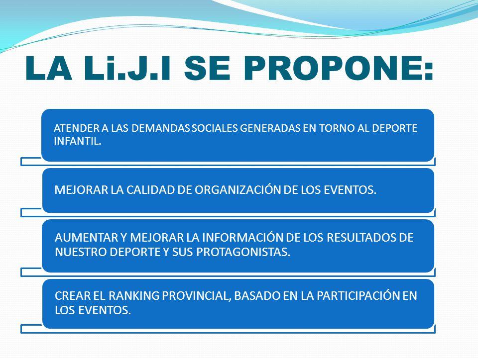 LA Li.J.I SE PROPONE: ATENDER A LAS DEMANDAS SOCIALES GENERADAS EN TORNO AL DEPORTE INFANTIL.