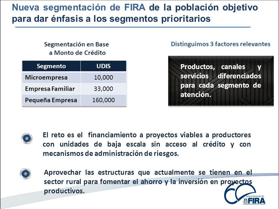 Nueva segmentación de FIRA de la población objetivo para dar énfasis a los segmentos prioritarios Segmentación en Base a Monto de Crédito Aprovechar las estructuras que actualmente se tienen en el sector rural para fomentar el ahorro y la inversión en proyectos productivos.