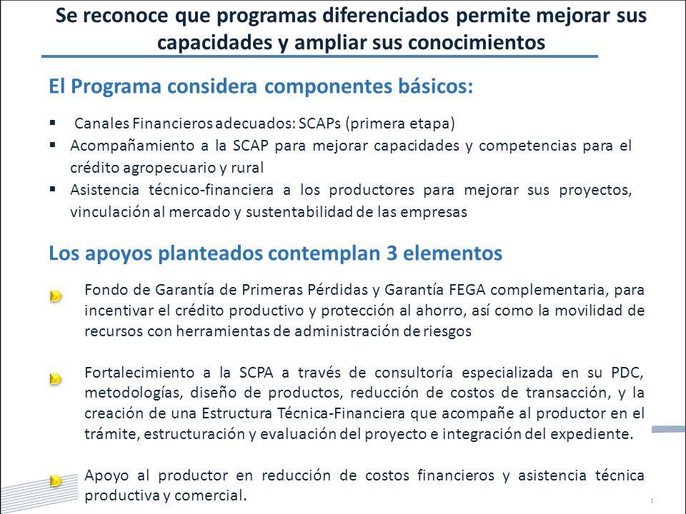 Se reconoce que programas diferenciados permite mejorar sus capacidades y ampliar sus conocimientos El Programa considera componentes básicos:  Canales Financieros adecuados: SCAPs (primera etapa)  Acompañamiento a la SCAP para mejorar capacidades y competencias para el crédito agropecuario y rural  Asistencia técnico-financiera a los productores para mejorar sus proyectos, vinculación al mercado y sustentabilidad de las empresas Los apoyos planteados contemplan 3 elementos Fondo de Garantía de Primeras Pérdidas y Garantía FEGA complementaria, para incentivar el crédito productivo y protección al ahorro, así como la movilidad de recursos con herramientas de administración de riesgos Fortalecimiento a la SCPA a través de consultoría especializada en su PDC, metodologías, diseño de productos, reducción de costos de transacción, y la creación de una Estructura Técnica-Financiera que acompañe al productor en el trámite, estructuración y evaluación del proyecto e integración del expediente.