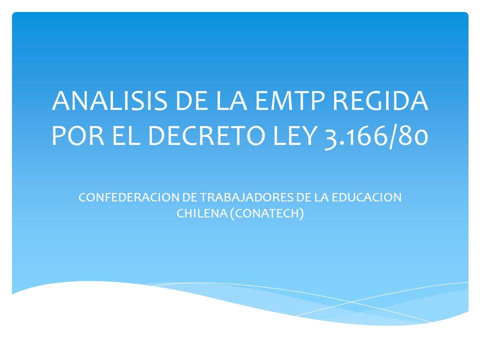 ANALISIS DE LA EMTP REGIDA POR EL DECRETO LEY 3.166/80 CONFEDERACION DE TRABAJADORES DE LA EDUCACION CHILENA (CONATECH)