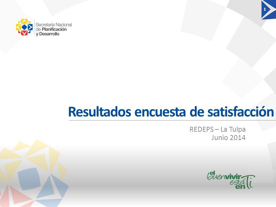 Resultados encuesta de satisfacción 1 REDEPS – La Tulpa Junio 2014