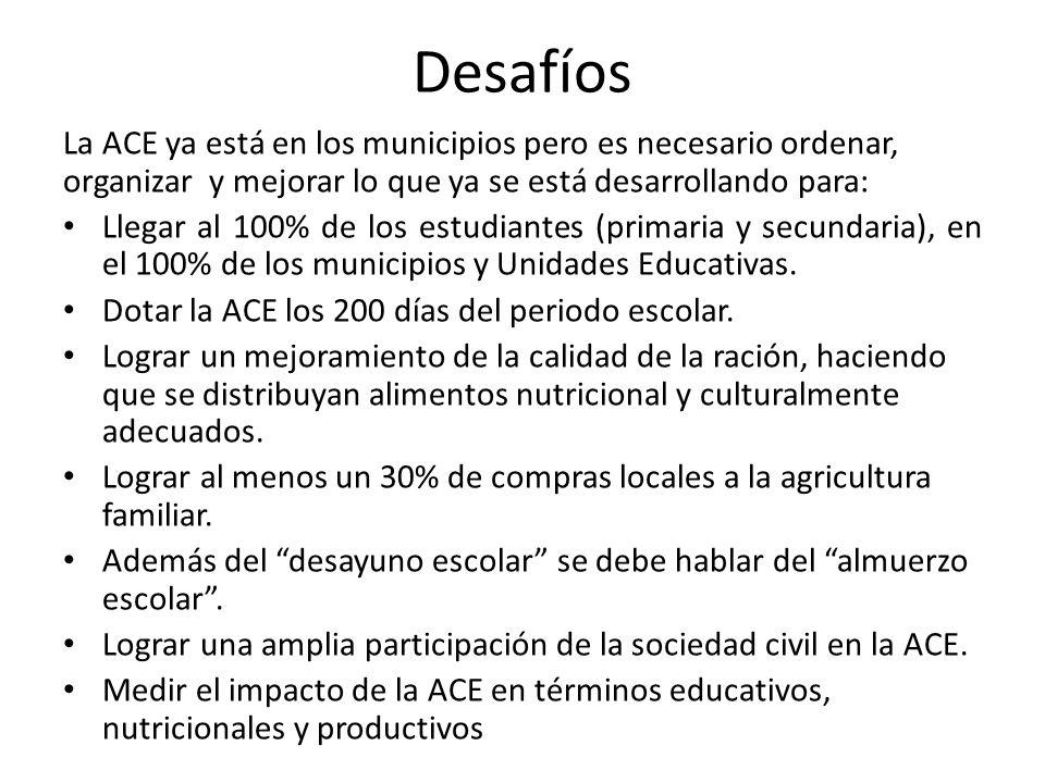 Desafíos La ACE ya está en los municipios pero es necesario ordenar, organizar y mejorar lo que ya se está desarrollando para: Llegar al 100% de los estudiantes (primaria y secundaria), en el 100% de los municipios y Unidades Educativas.