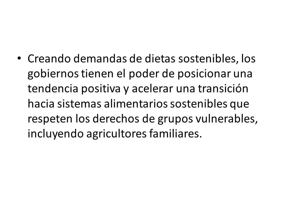 Creando demandas de dietas sostenibles, los gobiernos tienen el poder de posicionar una tendencia positiva y acelerar una transición hacia sistemas alimentarios sostenibles que respeten los derechos de grupos vulnerables, incluyendo agricultores familiares.