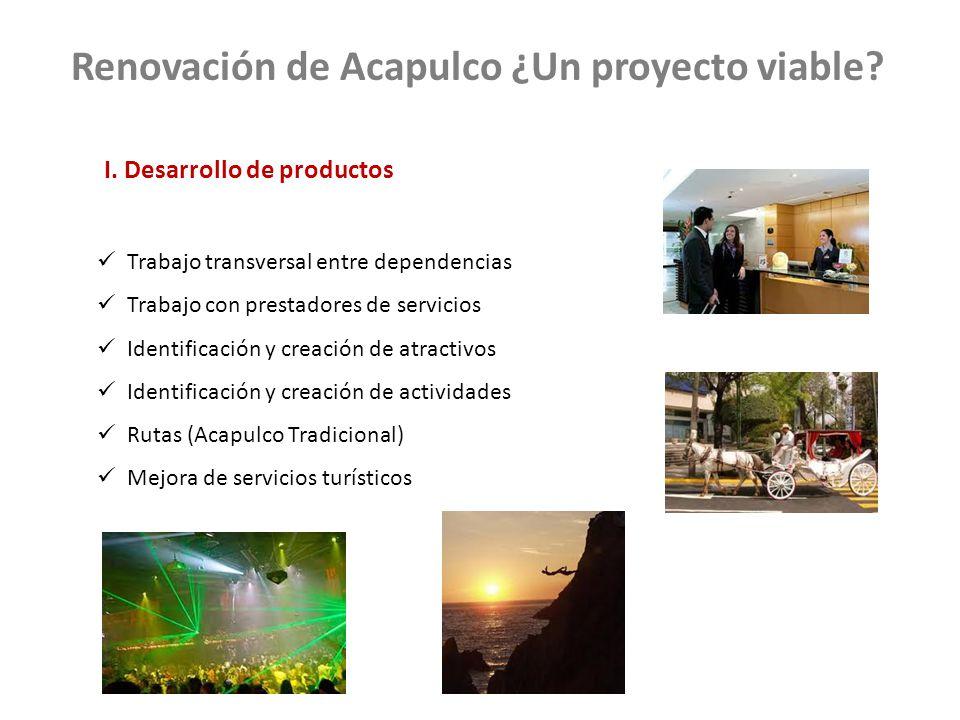 Trabajo transversal entre dependencias Trabajo con prestadores de servicios Identificación y creación de atractivos Identificación y creación de actividades Rutas (Acapulco Tradicional) Mejora de servicios turísticos Renovación de Acapulco ¿Un proyecto viable.